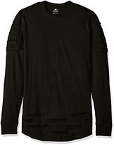 Southpole Men's Long Sleeve Ripped and Repaired Scallop Tee