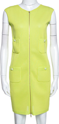 Chanel Lemon Green Knit Zip Detail Sheath Dress S