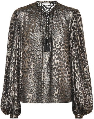 Saint Laurent Leopard-print silk-blend blouse