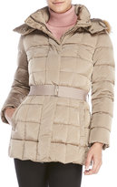 ADD Real Fur Trim Belted Down Coat