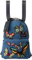 Valentino Garavani Denim Butterfly Embroidered Backpack