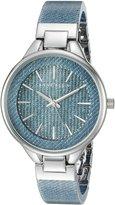 Anne Klein Women's AK/1409LTDM Silver-Tone and Light Denim Patterned Resin Bangle Watch