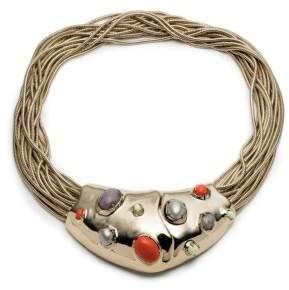 Alexis Bittar 10K Gold Stone Bib Necklace