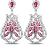 Epinki Women White Gold Plated Chandelier Tulip Cubic Zirconia Dangle Earrings
