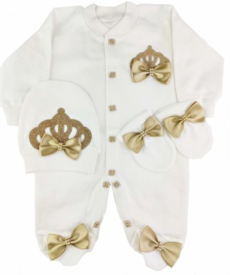 B Bling Baby Girl Newborn Royal Fancy Clothes Romper Outfit Set 0-3 and 3-6 Months