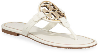 Tory Burch Miller Flat Metal Logo Slide Sandals