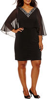 Melrose 3/4 Sleeve Embellished Sheath Dress-Plus