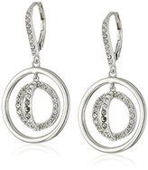 Judith Jack Sterling Silver Circle Leverback with Swarovski Marcasite Drop Earrings