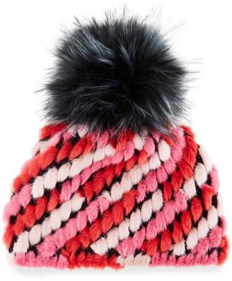 Jocelyn Faux-Fur Pineapple Hat with Pompom