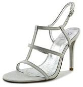 Adrianna Papell Dalton Women Open Toe Canvas Silver Sandals.