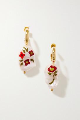 Simone Rocha Gold-plated Pearl Hoop Earrings - White