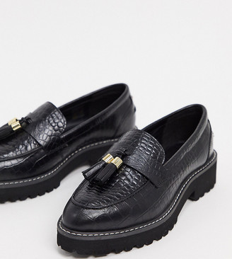 Dune wide fit golding leather chunky loafers in black
