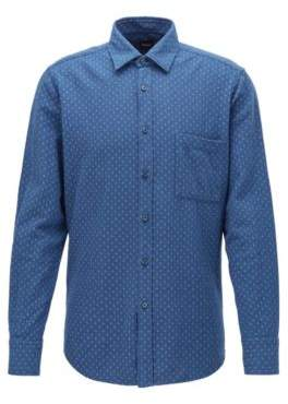BOSS Regular-fit patterned shirt in heathered cotton flannel