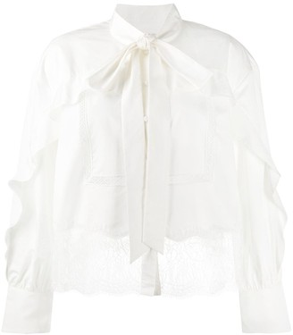 Self-Portrait Lace-Embellished Cotton Blouse