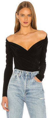 Norma Kamali Long Sleeve Sweetheart Blouse