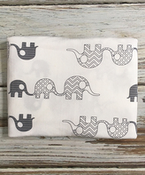 Cream & Gray Elephant Raw-Edge Stretch Wrap