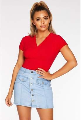 Quiz Petite Red Cap Sleeve Bodysuit