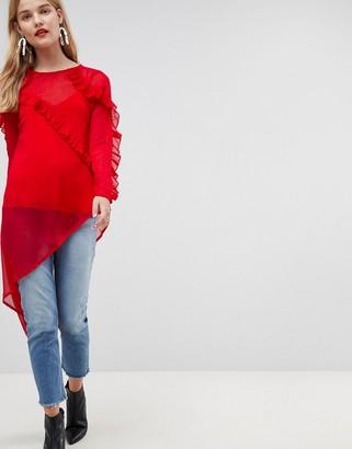 Asos Design Ultimate Asymmetric Ruffle long sleeve Blouse in Chiffon-Red
