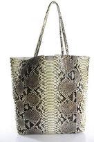Carlos Falchi Multi-Color Beige Snakeskin Tote Handbag