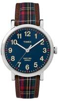 Timex Originals Watch with Plaid Strap - Silver/Blue TW2P695002B