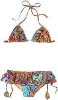 Luli Fama Girls' Ruffled Triangle Bikini Set