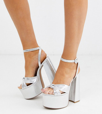 Asos DESIGN Wide Fit Water chunky platform bow heeled sandals in silver