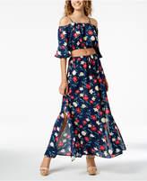 Sequin Hearts Juniors' 2-Pc. Floral-Print Maxi Dress