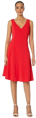 Donna Morgan Sleeveless Stretch Crepe V-Neck Fit-and-Flare Dress (Red) Women's Clothing