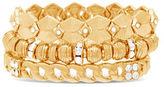 Steve Madden Textured Links Station Bracelet Set- 3 Piece