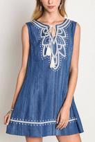 Umgee USA Embroidered Chambray Dress