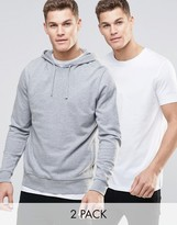 Asos Hoodie And Longline T-Shirt 2 Pack
