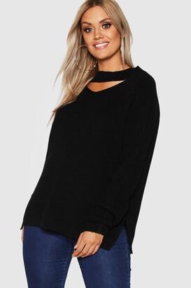 boohoo Plus Choker Side Split Sweater