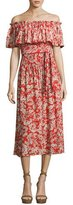 Rebecca Taylor Cherry Blossom Off-the-Shoulder Silk Dress, Multi
