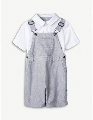 The Little White Company Striped cotton dungaree and polo set 1-6 years