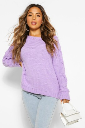 boohoo Petite Cable Knit Sleeve Detail Jumper