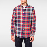 Paul Smith Men's Red, White And Blue Cotton Check Button-Down Shirt
