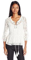 My Michelle Women's Bell Sleeves Lace Top with Crochet Details and Tassel Tie