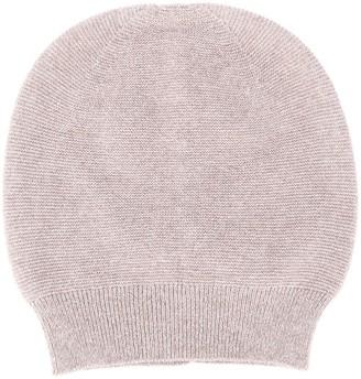 Fabiana Filippi Round Top Fine Knit Beanie Hat