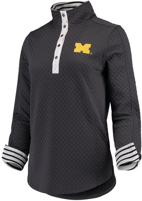 Women's Charcoal Michigan Wolverines Out of Your League Quilted Quarter-Snap Pullover Jacket