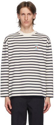 MAISON KITSUNÉ Navy ACIDE Fox Patch Long Sleeve T-Shirt