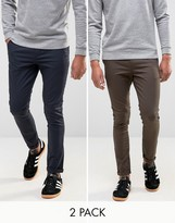 Asos 2 Pack Super Skinny Chinos In Navy And Brown