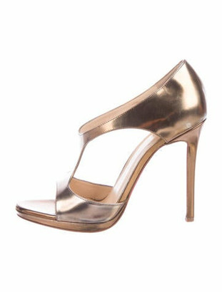 Christian Louboutin Sylvette 120 Patent Leather T-Strap Sandals Gold