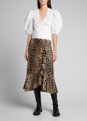 Ganni Leopard Printed Satin Midi Frill Skirt