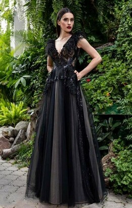 Cristallini Sleeveless Feathered Lace Tulle Gown