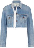 Off-White Cropped Frayed Denim Jacket - Mid denim