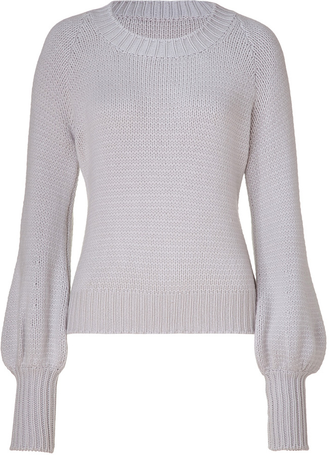 Antonia Zander Stone cashmere sweater with bishop sleeves