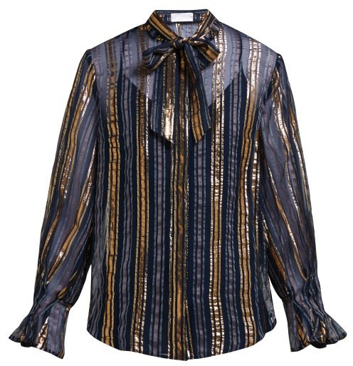 Peter Pilotto Striped Metallic Silk Blend Chiffon Blouse - Womens - Gold Multi