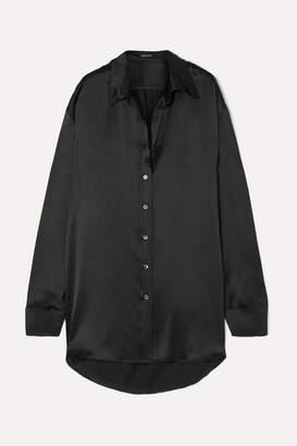 Ann Demeulemeester Oversized Silk-charmeuse Shirt - Black