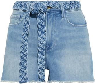 Frame Le Cutoff Belted Frayed Denim Shorts