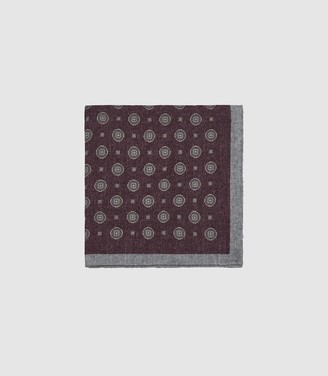 Reiss MOUNTAIN WOOL MEDALLION POCKET SQUARE Bordeaux